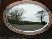 Large Arts & Crafts copper oval mirror