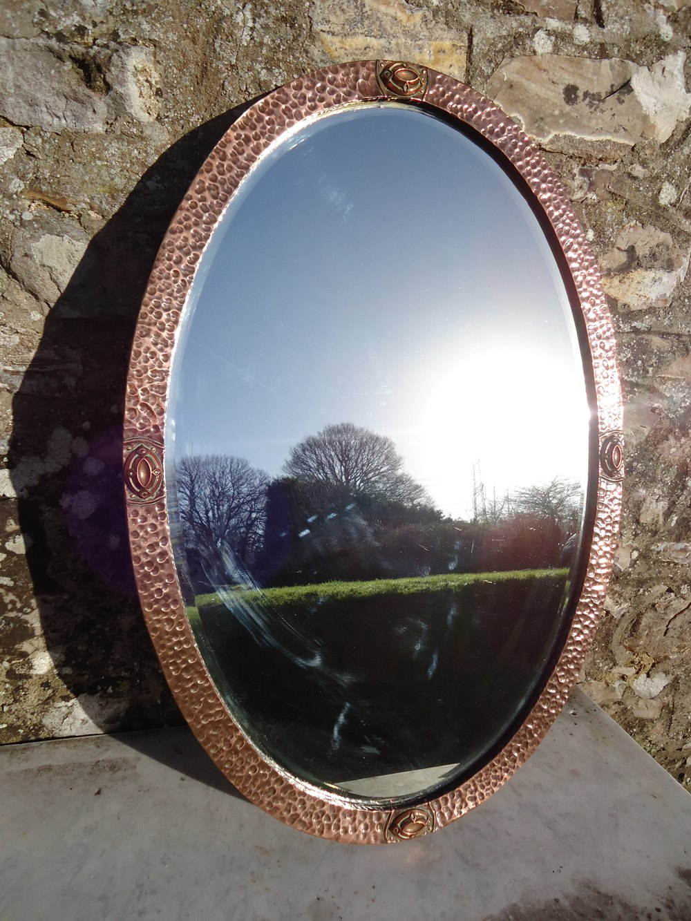 Antiques Atlas Large Oval Arts Amp Crafts Copper Mirror