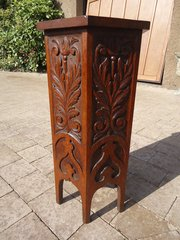 Lovely Arts & Crafts carved oak lamp table