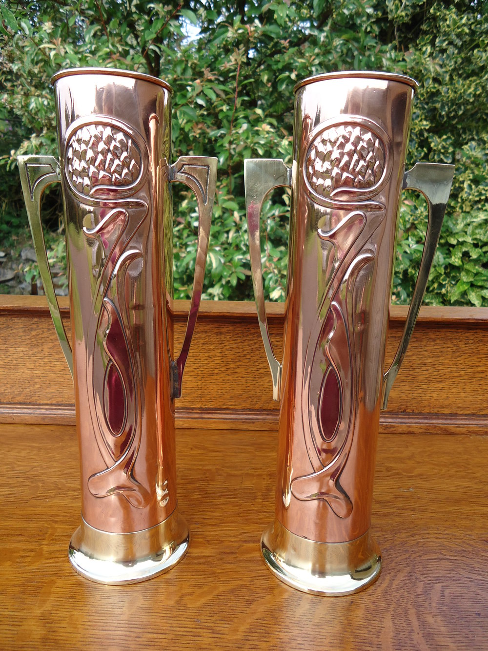Antiques atlas pair of arts crafts beldray copper vases pair of arts crafts beldray copper vases reviewsmspy