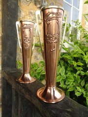 Pair of Arts & Crafts Beldray copper vases