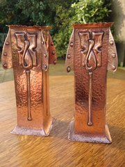 Pair of Arts & Crafts Glasgow school copper vases