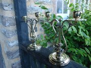 Pair of Arts & Crafts brass candle sticks