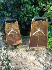 Pair of Arts & Crafts copper fire dogs - Andirons