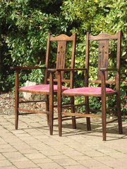 Pair of Arts & Crafts oak chairs. Liberty