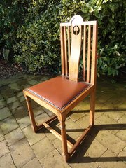 Pair of Arts & Crafts oak hall chairs
