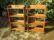 Pair of Arts & Crafts pegged bookcases
