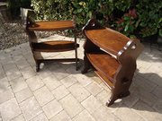 Pair of Arts & Crafts pegged oak book tables