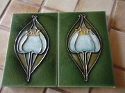 Pair of Arts & Crafts tube lined tiles