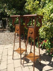 Pair of Tall oak Arts & Crafts plant stands