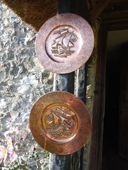 Pair of small Arts & Crafts copper chargers