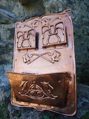 Rare Arts & Crafts large copper letter rack