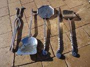 Rare set of 5 steel fire tools - Archibald Carne