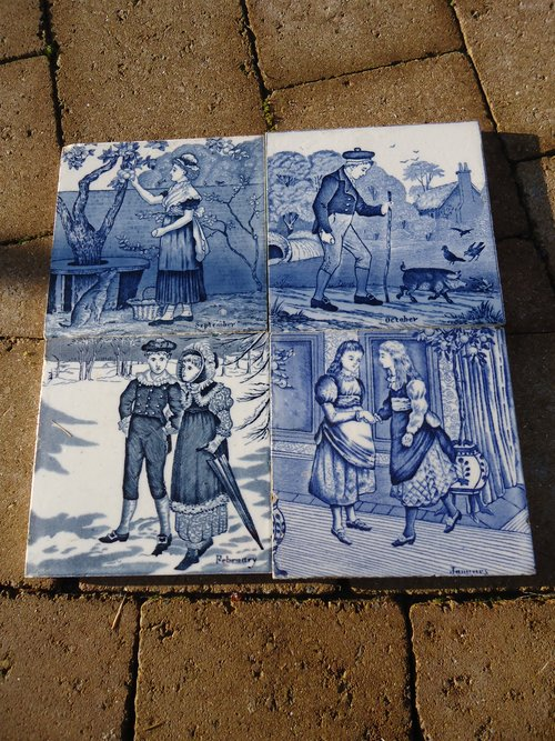 Set of 4 Aesthetic movement transfer printed tiles