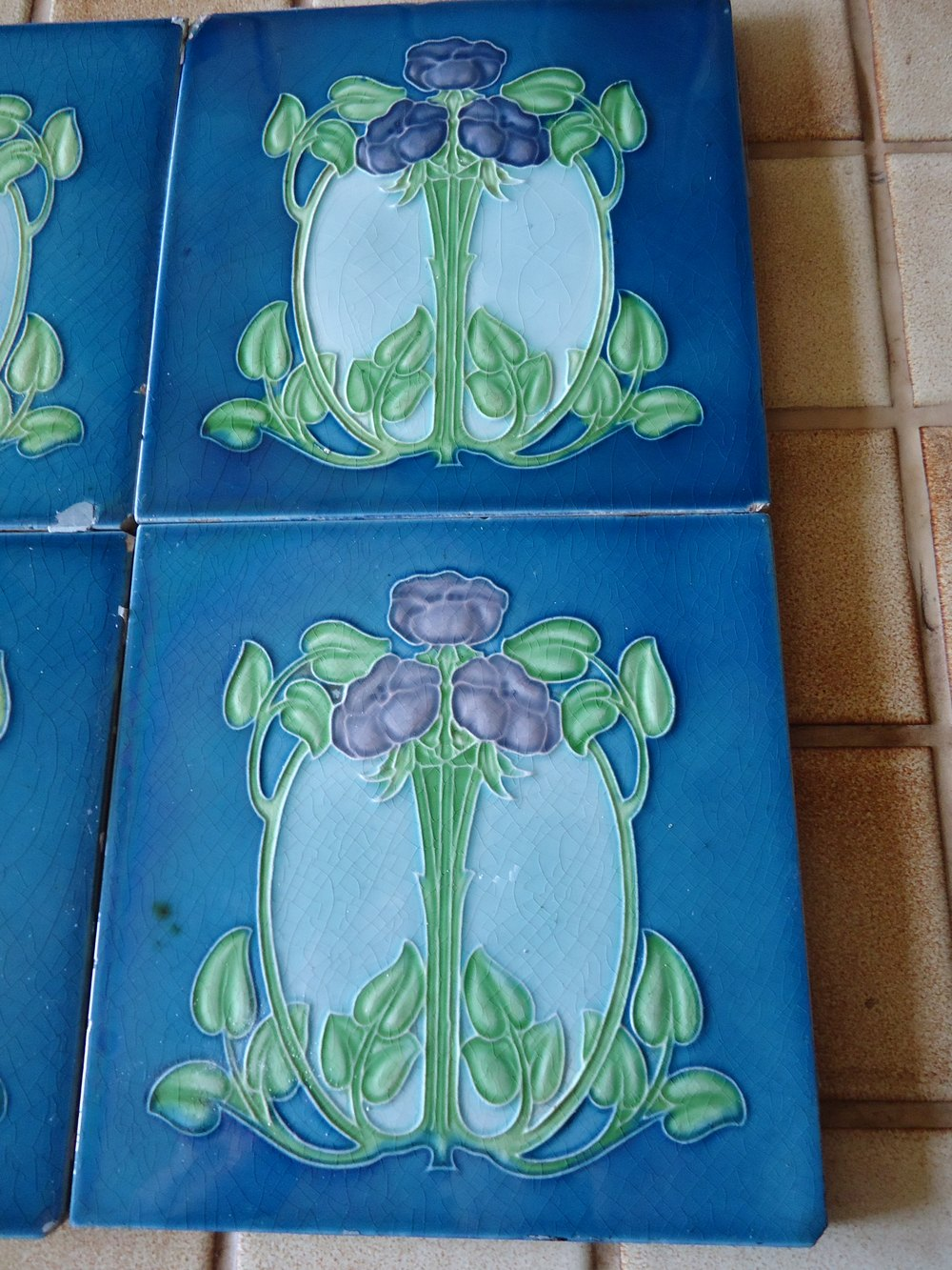 Antiques atlas set of six arts crafts tube lined for Arts crafts tiles