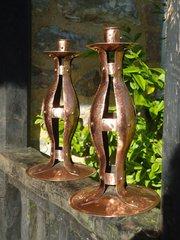 Stunning pair of Arts & Crafts copper candlesticks