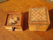Two novelty inlaid cigarette boxes