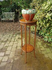 Two tiered oak plant stand