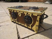 Unusual Arts & Crafts brass casket with roundels