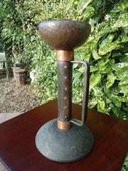 Unusual Arts & Crafts copper candle holder