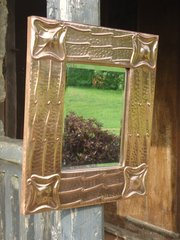 Unusual Arts & Crafts copper mirror