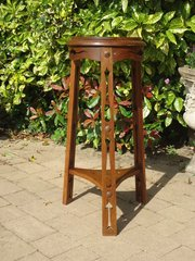 Unusual Arts & Crafts plant stand in oak