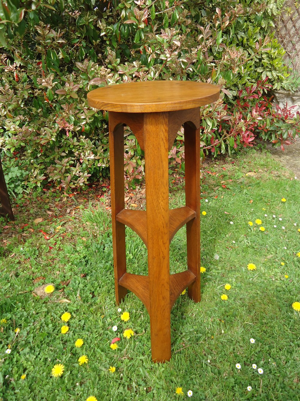 Unusual Three Tiered Arts Crafts Plant Stand Antiques