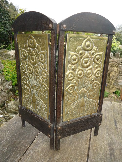 Unusual Two Fold Arts Crafts Peacock Screen Antiques Atlas