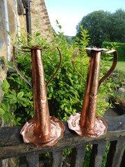 Unusually large pair Newlyn school candlesticks