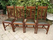Set of 4 Arts & Crafts dining chairs. Liberty