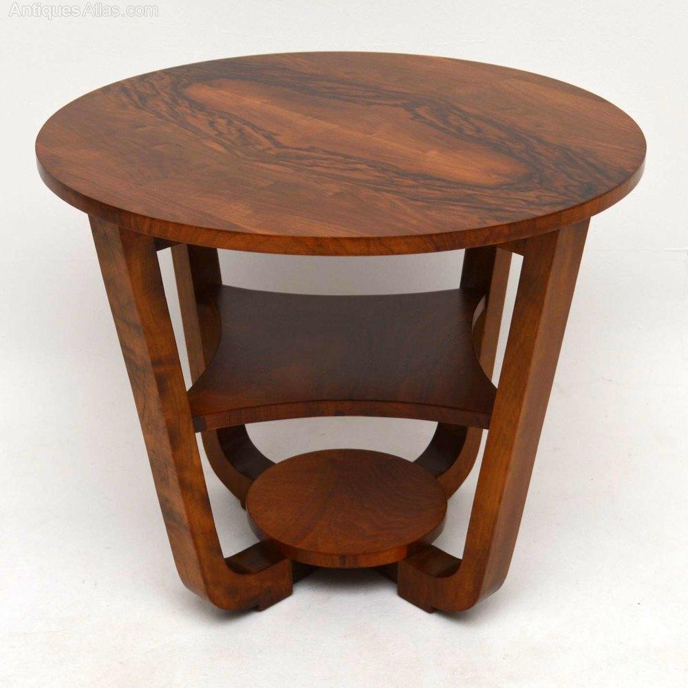 Art Deco Figured Walnut Coffee Table Vintage 1920s