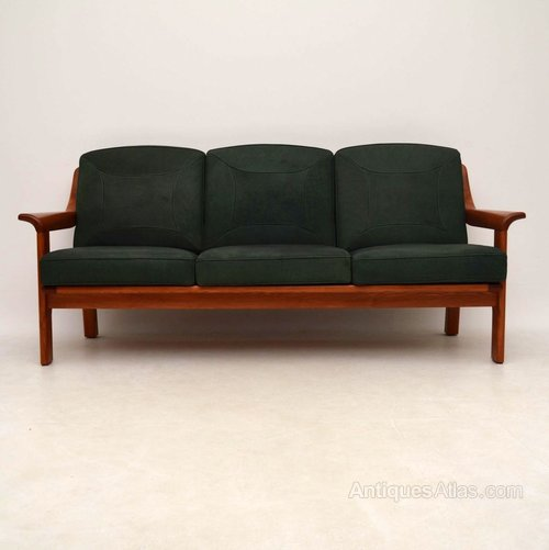 Danish Retro Teak Leather Sofa Vintage 1970 39 S Antiques