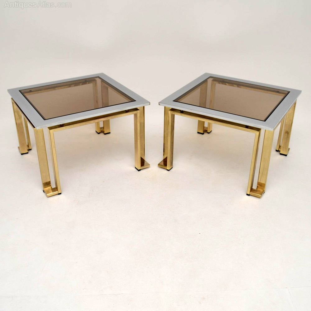 Pair Of Italian Chrome Br Side Tables By Zevi