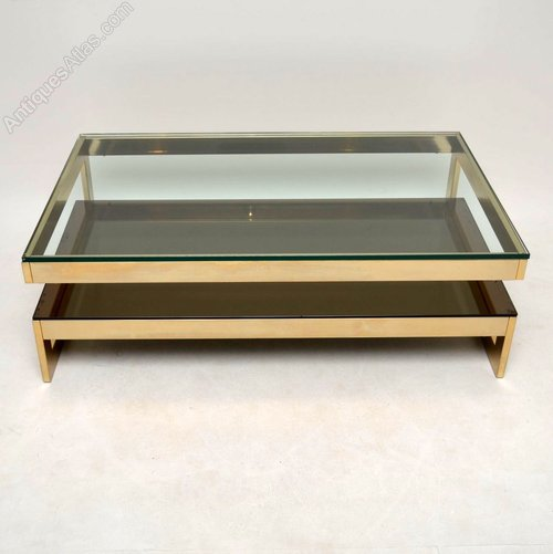 Gold Plated Coffee Table: Retro Gold Plated Coffee Table By Belgochrom