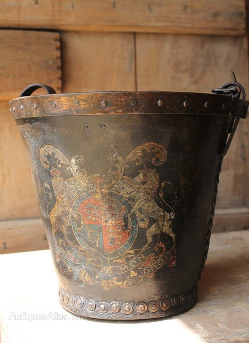 Leather Fire Bucket With Coat Of Arms