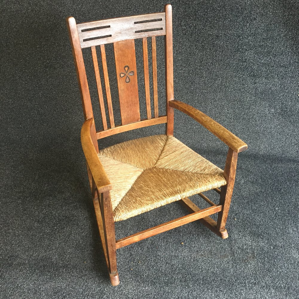 Arts and craft oak rocking chair antiques atlas
