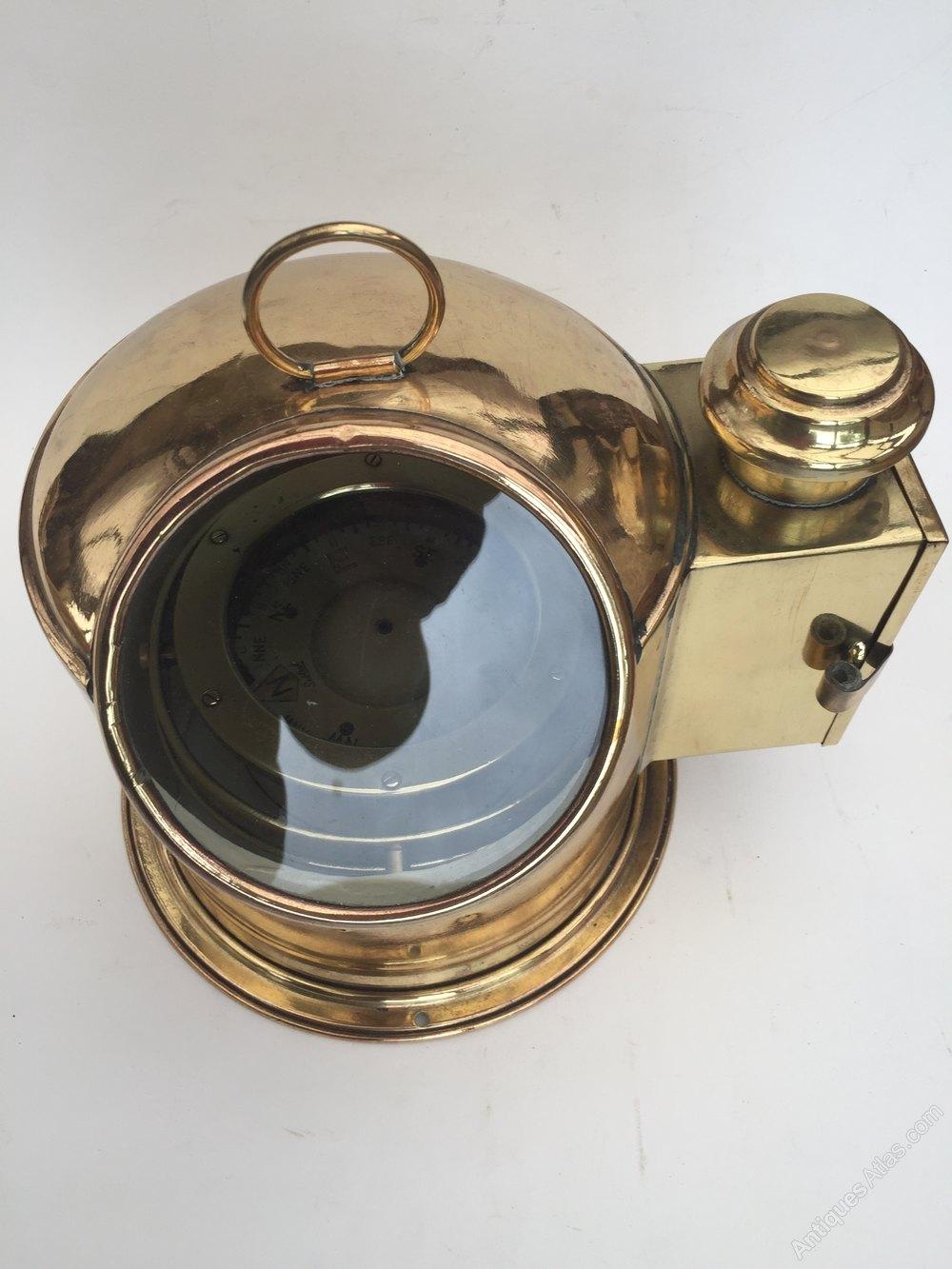 Antique Maritime Binnacle Compass In Brass - Antique Brass