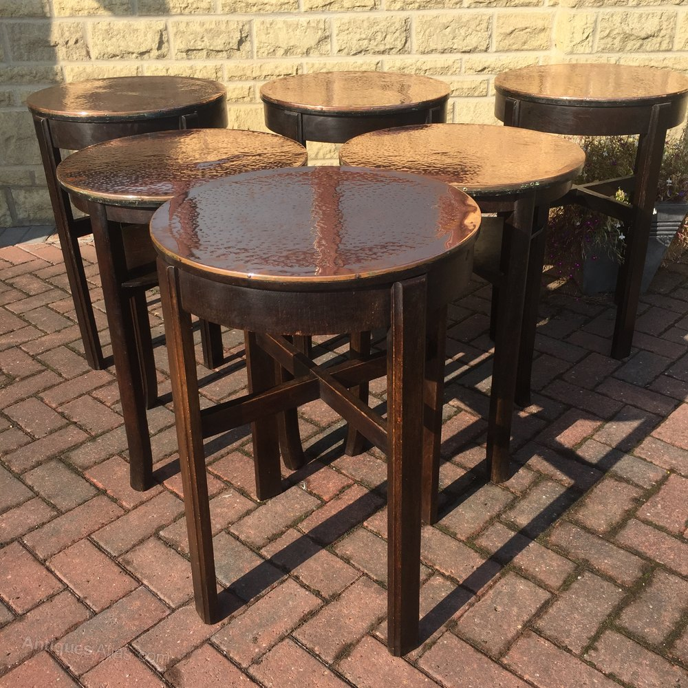 Antiques atlas six copper top bar tables 1940 50s six copper top bar tables 1940 50s vintage bar tables watchthetrailerfo