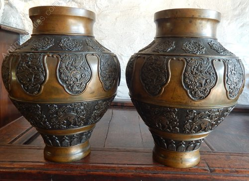 Antiques Atlas Stunning Pair Of Chinese Bronze Vases