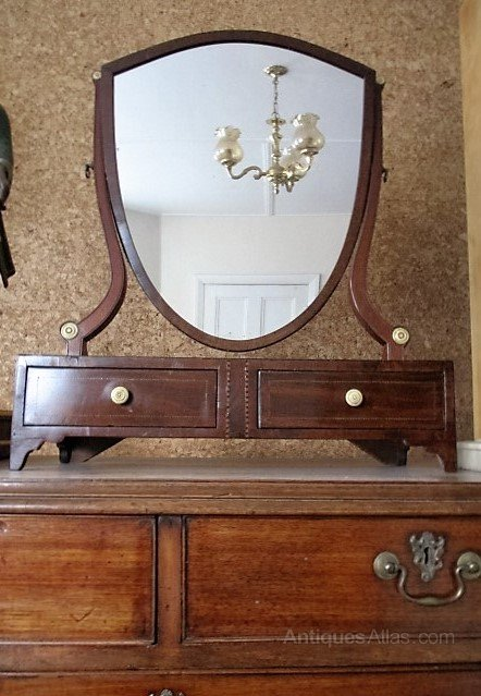 George 111 Mahogany Shield Dressing Table Mirror