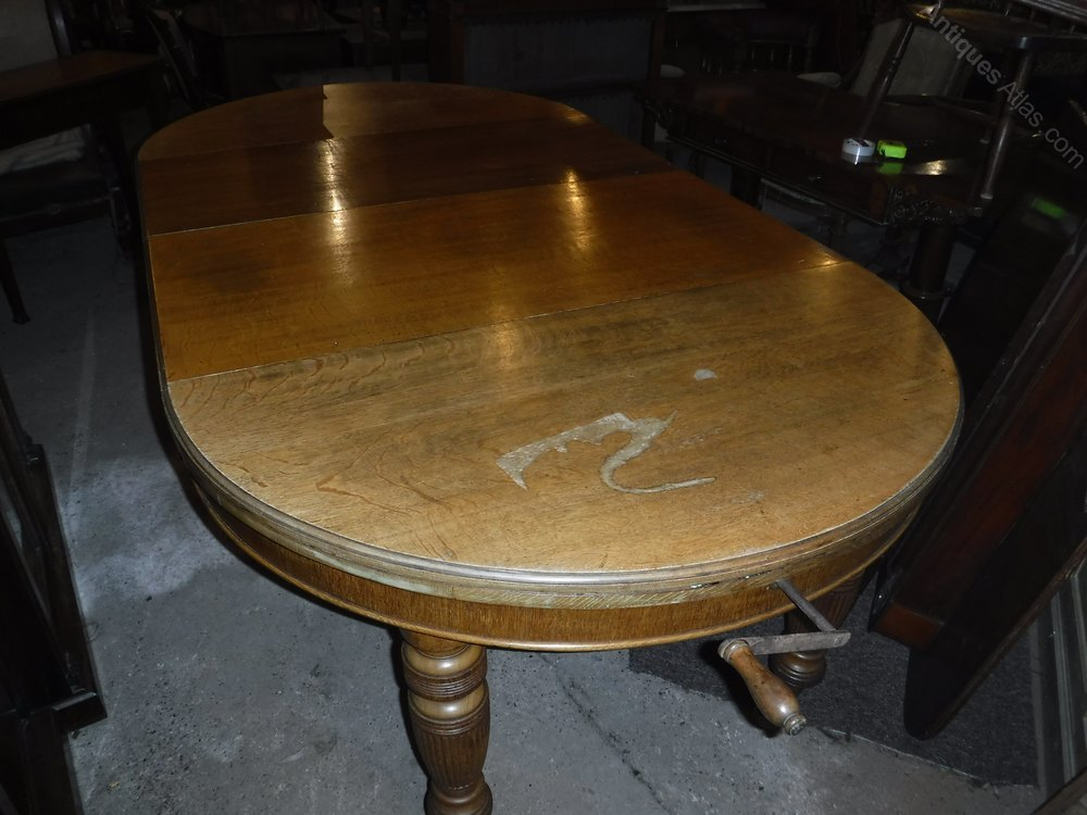 Victorian round oak 8 foot extending dining table for 10 foot round table