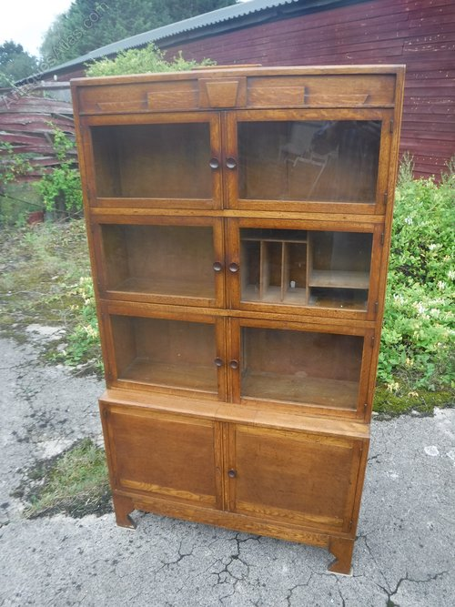 Oak sectional bookcase cabinet antiques atlas for How to increase cabinet depth