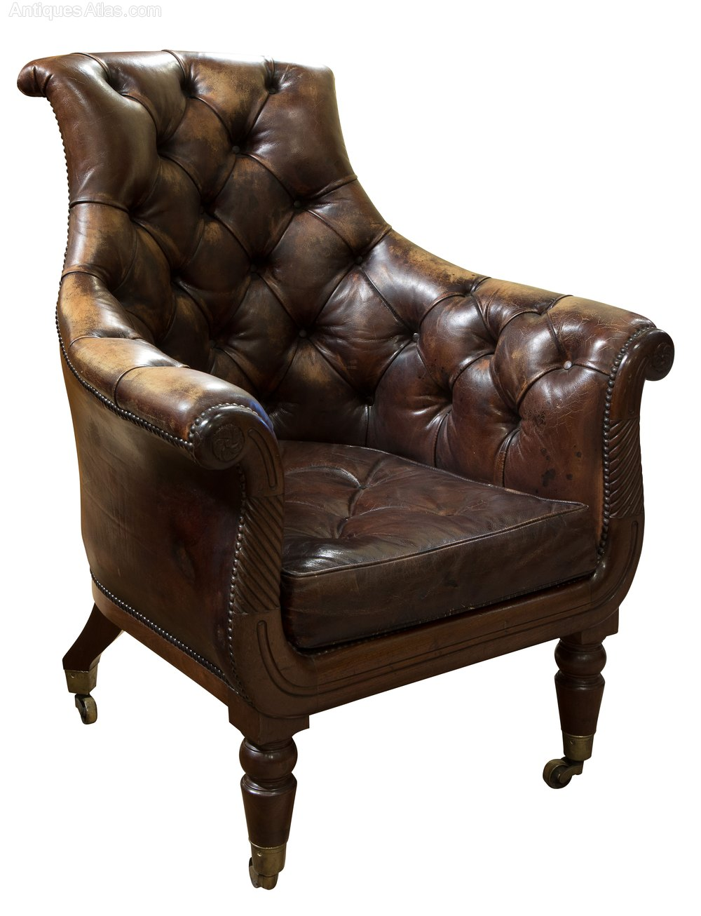 Regency Mahogany Distressed Leather Armchair C1820 ...