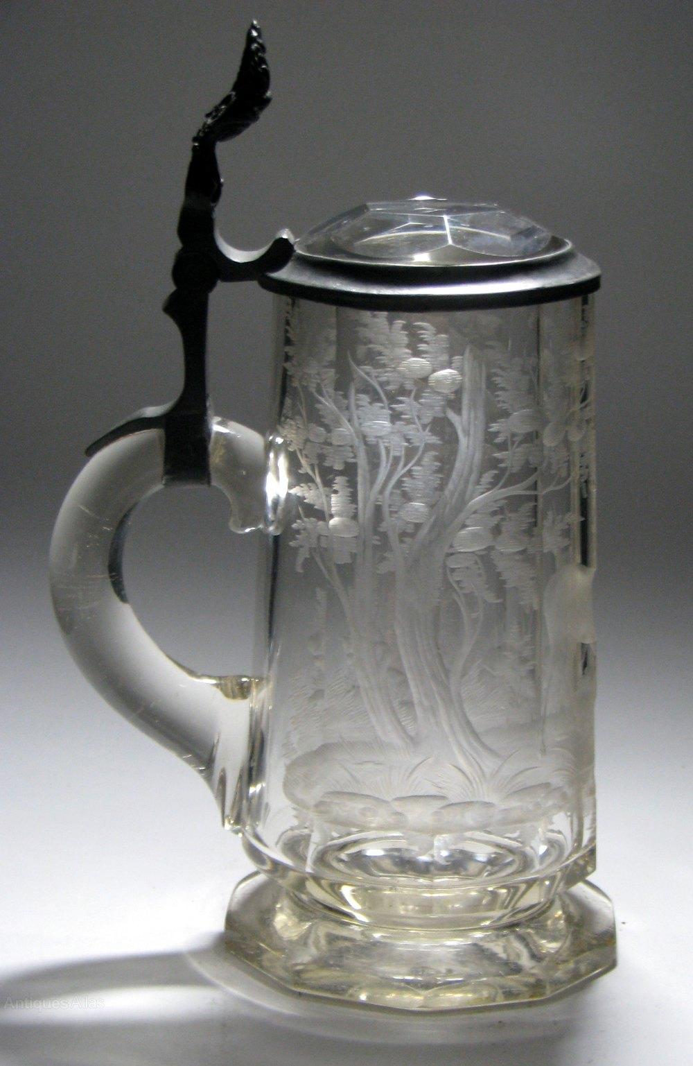 Antiques Atlas Bohemian Engraved Glass Tankard C1895