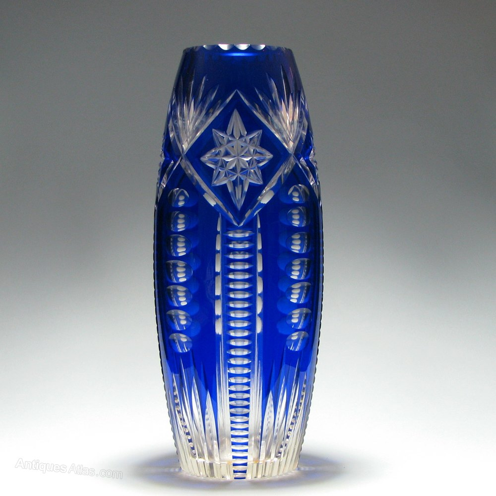 to cobalt vase bohemian glass vintage czech art cut blue clear pin