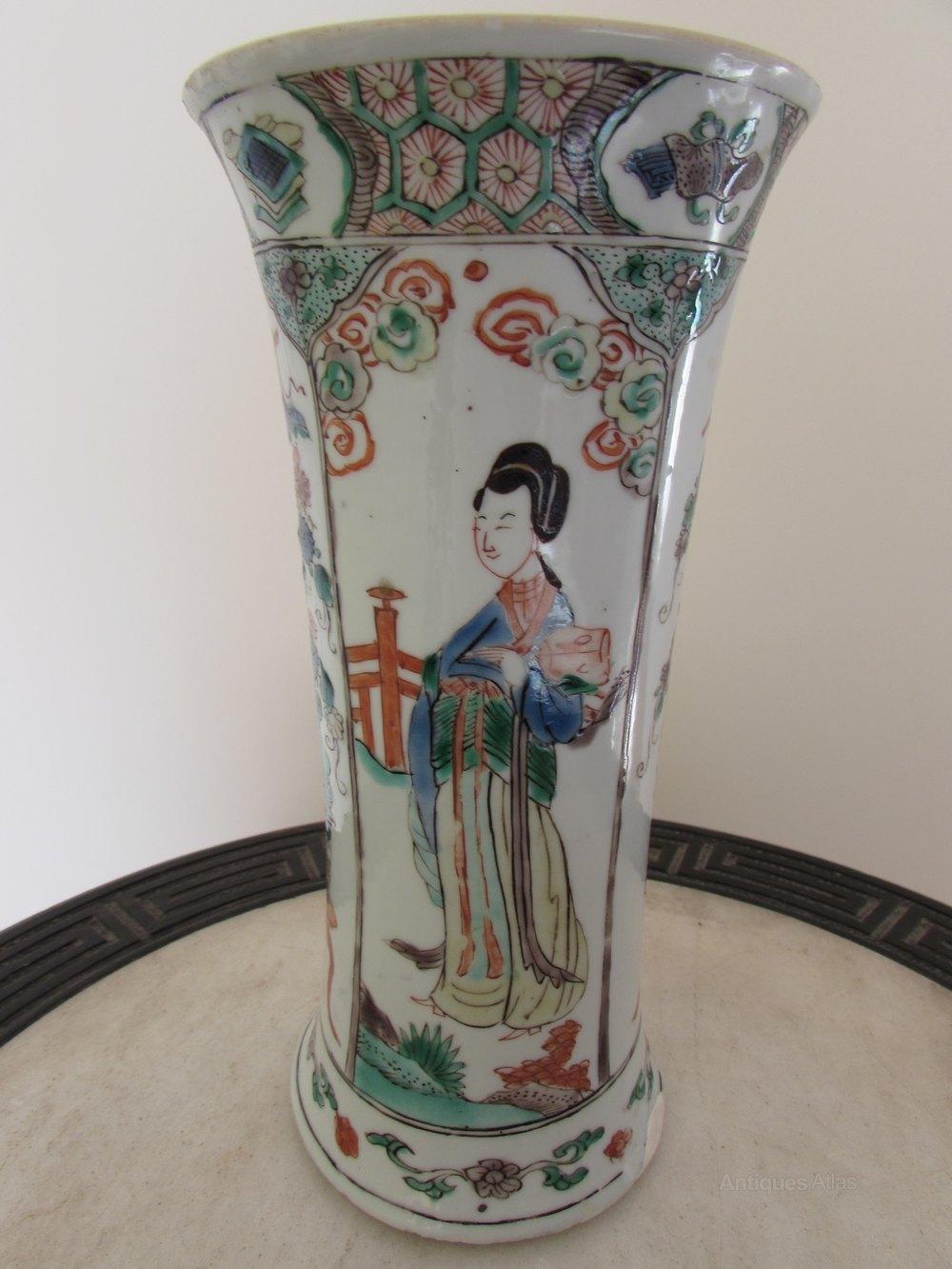 Antiques Atlas Chinese Kangxi Famille Verte Long Eliza Vase