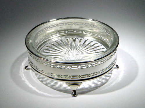 antiques atlas - george v art deco silver & cut glass butter dish