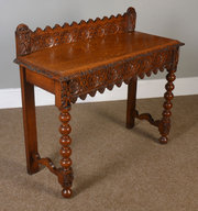 ... Antiques Carved Oak Hall Table