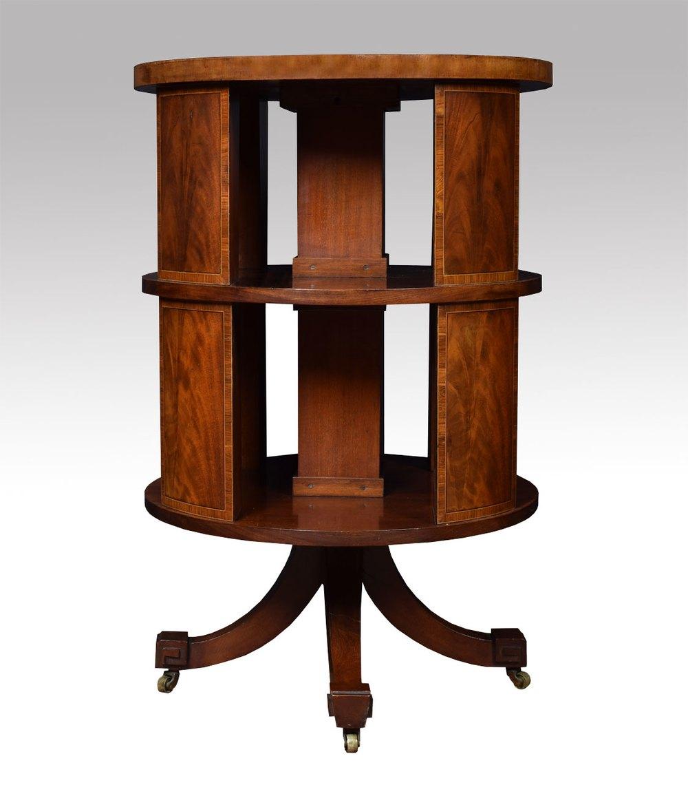 Edwardian Circular Revolving Bookcase Antique Bookcases