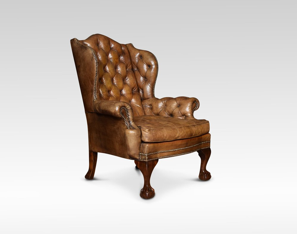 Georgian Style Leather Wingback Armchair Antiques Atlas